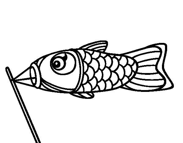 Desenho de Koinobori para Colorir