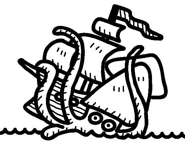 Desenho de Kraken para Colorir