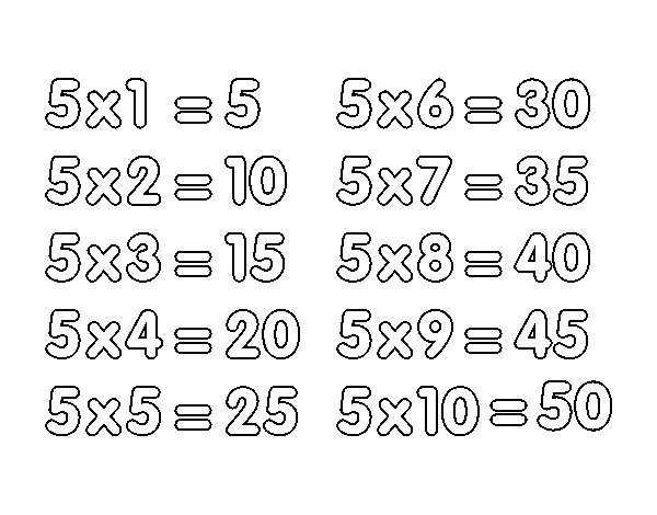 Desenho de La Tavola di Moltiplicazione del 5 para Colorir