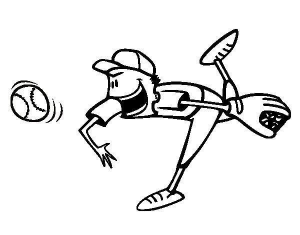 Desenho de Lançador de beisebol para Colorir