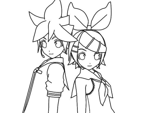 Desenho de Len e Rin Kagamine Vocaloid para Colorir