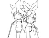 Desenho de Len e Rin Kagamine Vocaloid para colorear