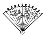 Desenho de Leque rococó para colorear