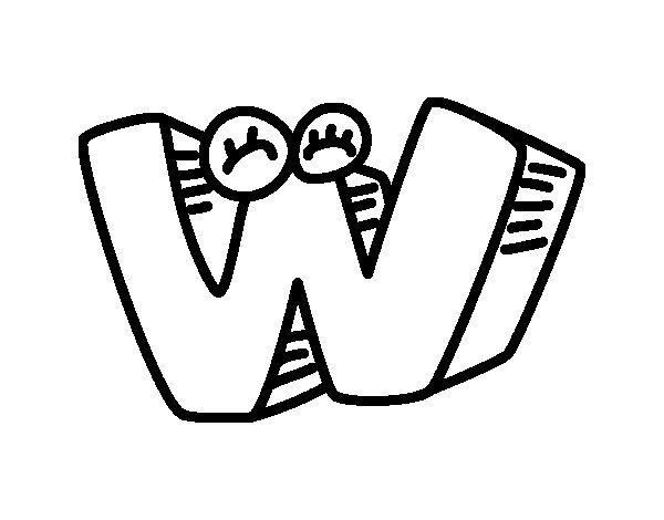 Desenho de Letra W para Colorir