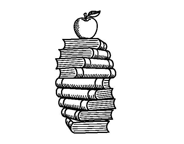 Desenho de Livros e maçã para Colorir