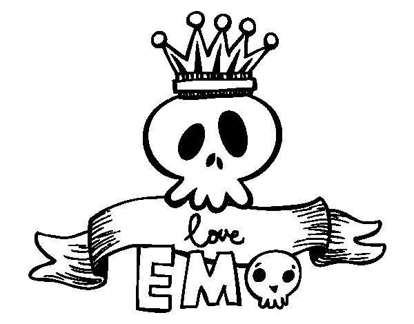 Desenho de Love Emo para Colorir