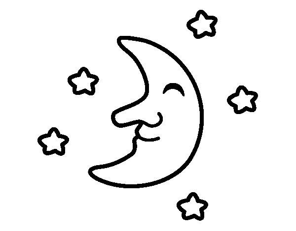 Desenho de Lua com estrelas para Colorir