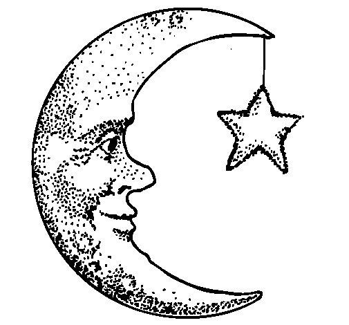Desenho de Lua e estrela para Colorir