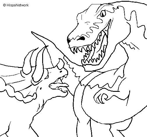Desenho de Luta de dinossauros para Colorir