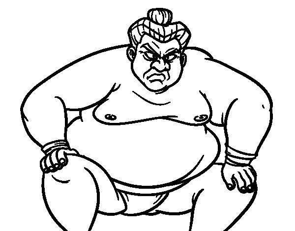 Desenho de Lutador de sumo furioso para Colorir