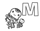 Desenho de M de Medusa para colorear