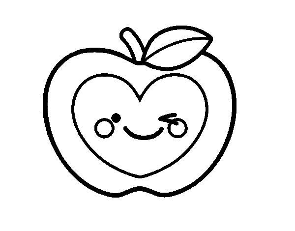 Desenho de Maçã coração para Colorir