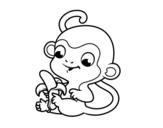 Desenho de Macaco com banana para colorear