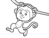 Desenho de Macaco pendurado em um galho para colorear