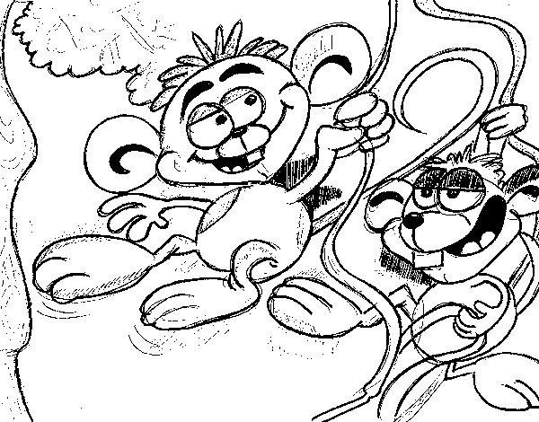 Desenho de Macaquinhos para Colorir