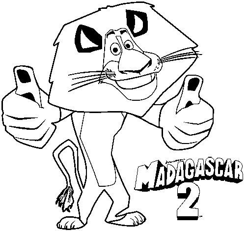 Desenho de Madagascar 2 Alex para Colorir