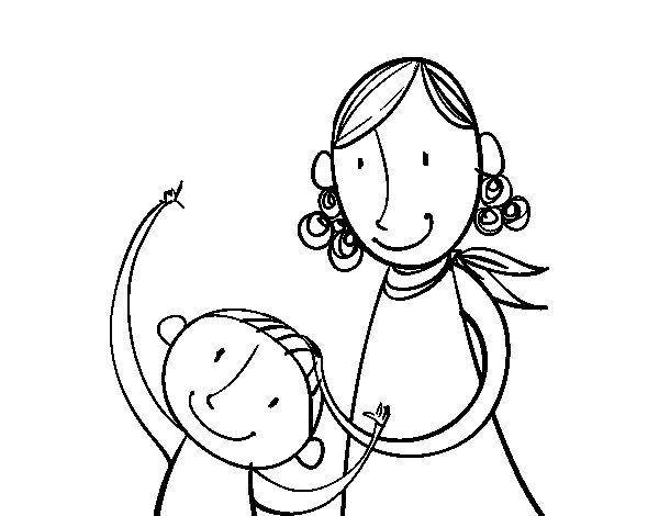 Desenho de Mãe acariciando a criança para Colorir