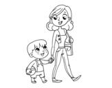 Desenho de Mãe andando com criança para colorear