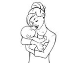 Desenho de Mãe balançando seu bebê para colorear