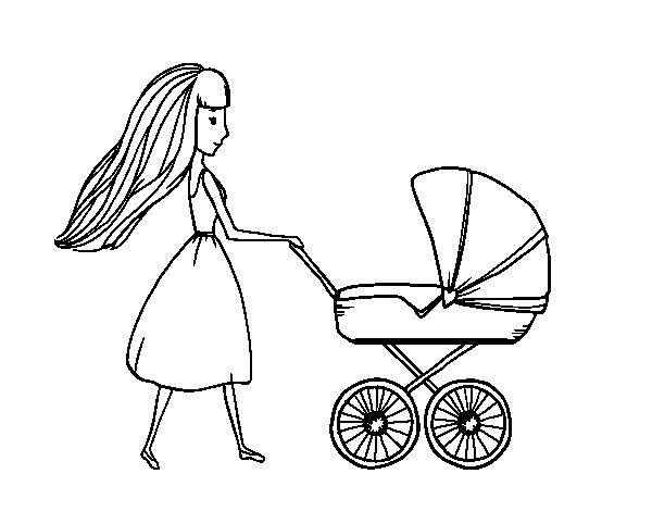 Desenho de  Mãe com carrinho de criança para Colorir