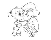 Desenho de Mãe com menina para colorear