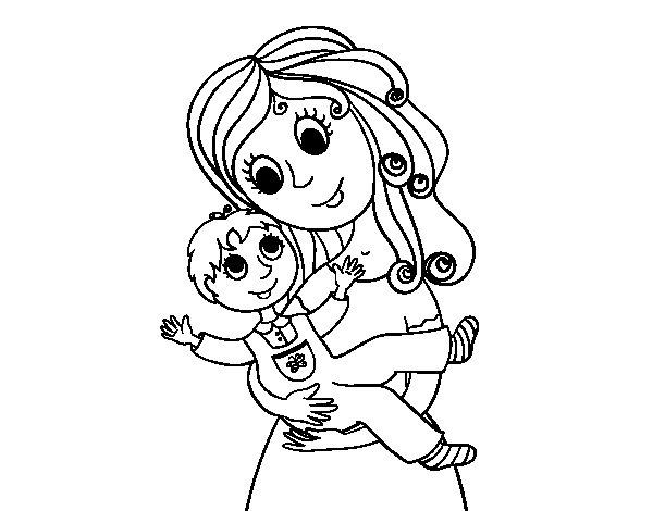 Desenho de Mãe com seu filho para Colorir