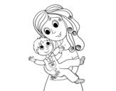 Desenho de Mãe com seu filho para colorear