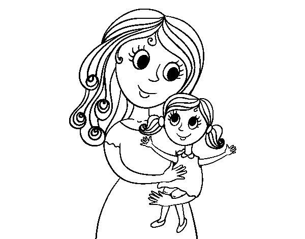 Desenho de Mãe com sua filha para Colorir