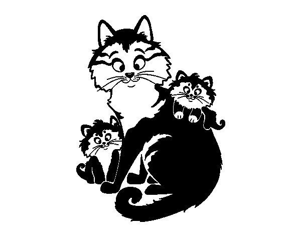 Desenho de Mãe gata e gatinhos para Colorir