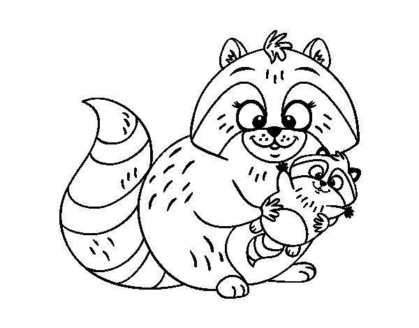 Desenho de Mãe guaxinim para Colorir
