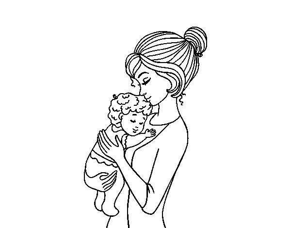 Desenho de Mãe levando o bebê para Colorir