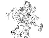 Desenho de Mãe multitarefa para colorear