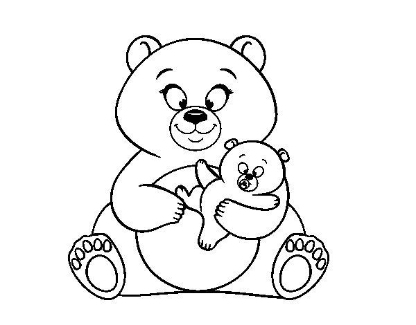 Desenho de Mãe ursa ursinho para Colorir