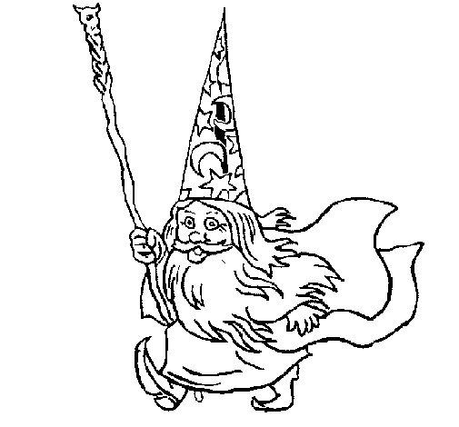 Desenho de Mago anão para Colorir