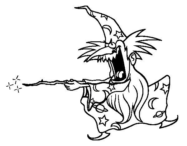 Desenho de Mago louco para Colorir