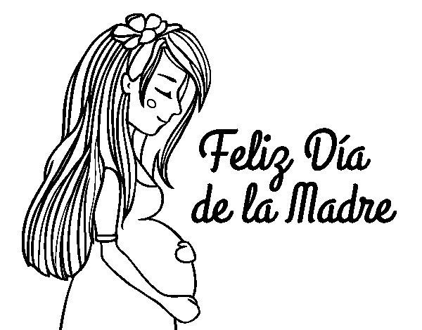 Desenho de Mamã grávida no Dia da Mãe para Colorir