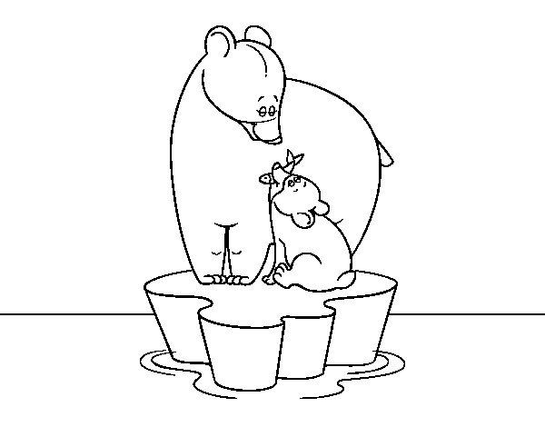Desenho de Mama urso com seu filho para Colorir