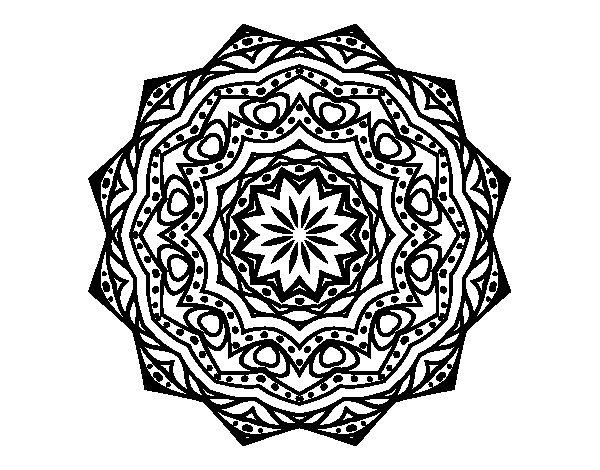 Desenho de Mandala com estrato  para Colorir