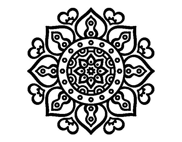 Desenho de Mandala Corações árabes para Colorir