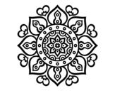 Desenho de Mandala Corações árabes para colorear