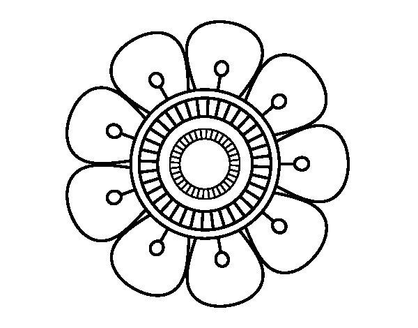 Desenho de Mandala em forma de flor para Colorir