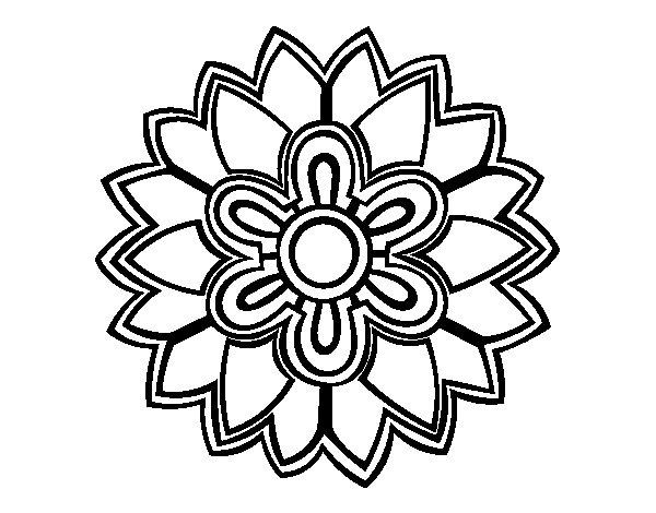 Desenho de Mandala em forma flor weiss para Colorir