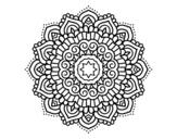 Desenho de Mandala estrela decorada para colorear