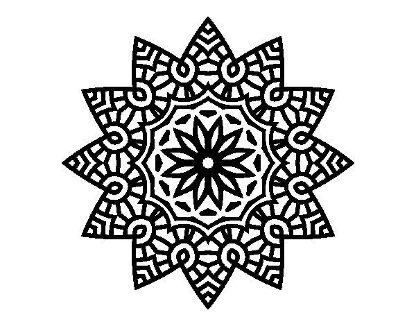 Desenho de Mandala estrela floral para Colorir