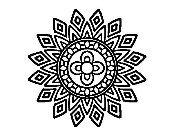 Desenho de Mandala flashes para Colorir