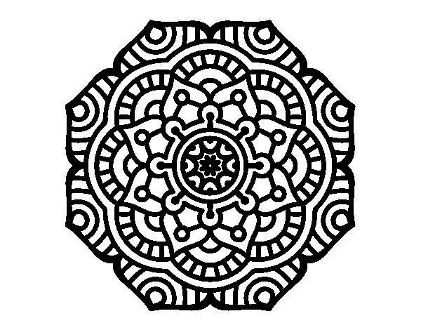Desenho de Mandala flor conceitual para Colorir