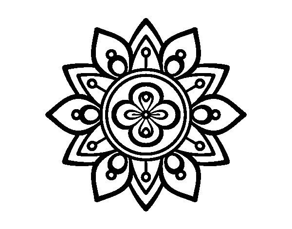 Desenho de Mandala flor de lótus para Colorir