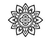 Desenho de Mandala flor de lótus para colorear