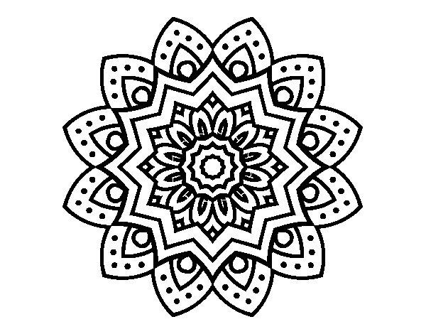 Desenho de Mandala flor natural para Colorir