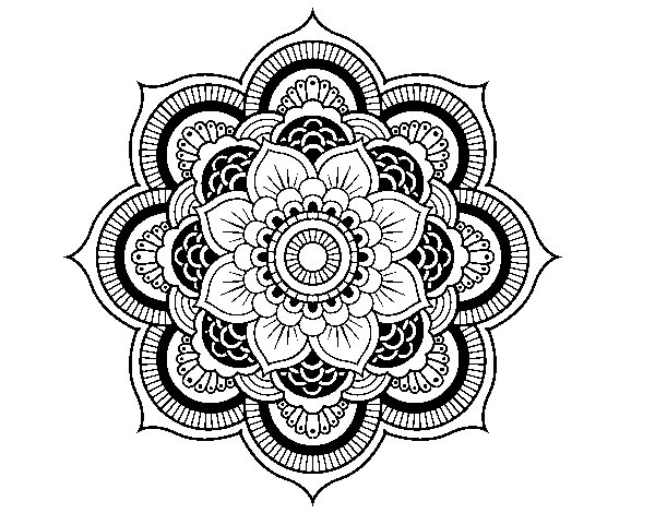 Desenho de Mandala flor oriental para Colorir